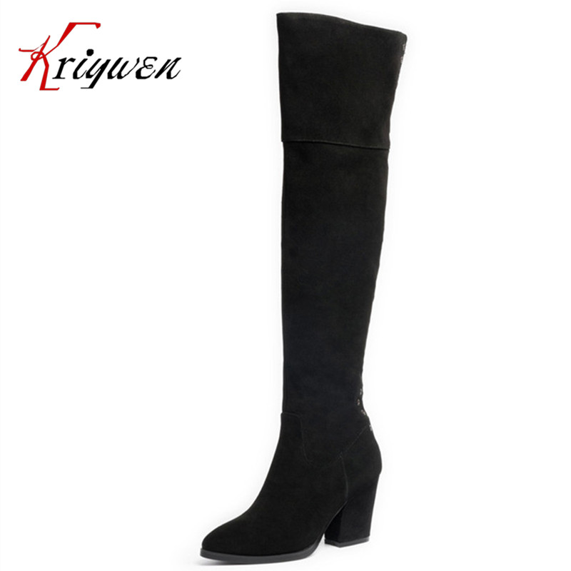 Hot sales 2016 latest autumn winter over the knee high boots cow split genuine leather thigh high heeled Pointed toe long shoes<br><br>Aliexpress