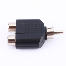 2 in 1 RCA Male to 2 RCA Female Y Splitter Audio Adapter Connectors Free Shipping