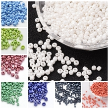 50g Opaque Colors Lustered 2/3/4mm DIY Craft Beads 8/0 6/0 12/0 Round Glass Seed Beads, White Red Blue Black Yellow Brown Green