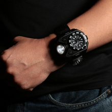 3-in-1 Super Bright LED Watch Torch Compass 5 Modes 300 Lumens Outdoor Sports Rechargeable Wrist Band Lamp
