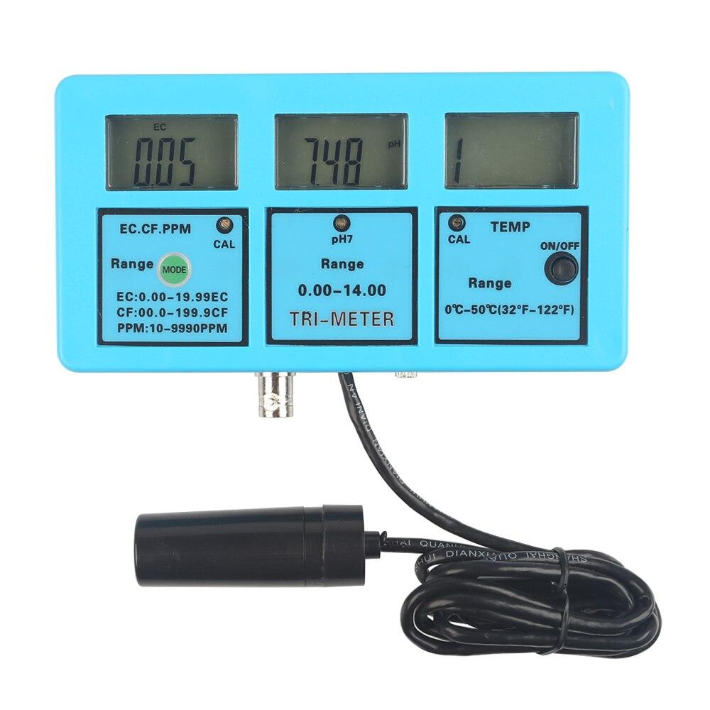 LeaningTech 5 in 1 PH EC CF TDS Temp Water Quality Monitor 3 LCD Digital Meter Aquarium EC CF TDS PH Temp Celsius Backlight<br><br>Aliexpress