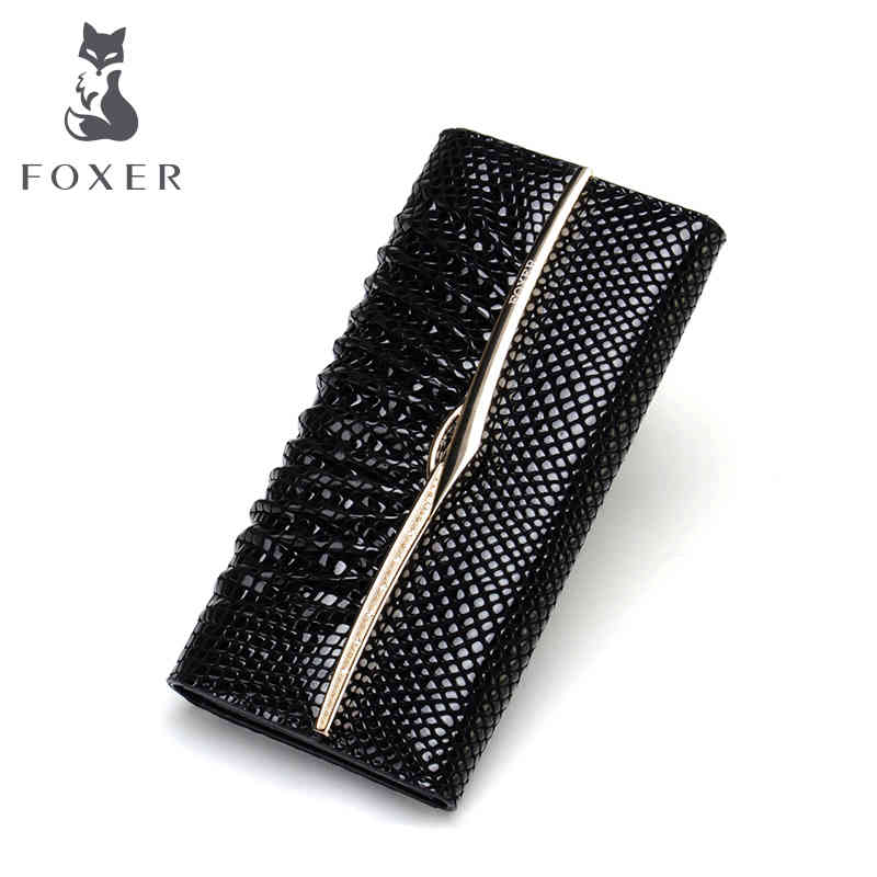 FOXER new 2018 womens wallet long genuine leather purse design brand women clutch fashion cow leather purse<br>