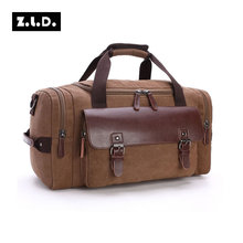 Z.L.D Original Canvas Leather Travel Bags Men Canvas Hand Luggage Duffel Bags Travel Bags Large Tote Weekend Bag During Night(China)