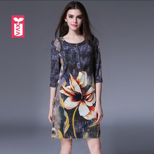 Summer Top Quality Holiday Women Female Fashion Brand Big Flower Femme Formal Half Short Sleeves A-Line Dresses 2017