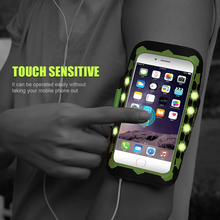 "FLOVEME For iPhone 7 6 6S Plus Armband LED Glow Sport Cases Waterproof 5.5""Universal Card Slot Phone Bag Cover For Samsung S6 S7(China)"