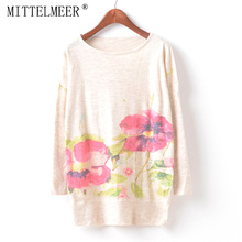 MITTELMEER New Autumn and Spring Harajuku printed Sweaters women o-neck printing Two flowers Sweaters tops for women
