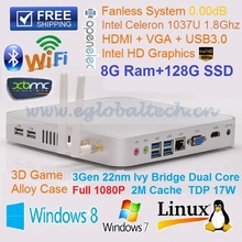 Mini PC Windows 7 Car PC Fanless Nuc 8G Ram 128G SSD Intel Celeron 1037U (2M Cache, 1.8GHz) HTPC Support Kodi OpenELEC Blue-Ray(China)