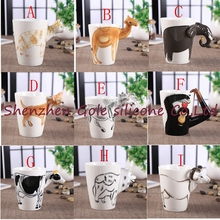 25pcs New 25 color arrival Creative gift Ceramic coffee milk tea mug 3D animal shape Hand painted animals Giraffe Cow Monkey cup(China)