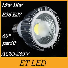 CE UL FCC + Dimmable PAR30 Led Lights Lamp High Power COB 15W 18W E27 Led Bulbs Warm/Cool White AC 110-240V + Warranty 3 Years(China)