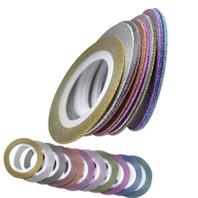 1mm Color Glitter Nail Art Striping Foils Shining Tape Line 11 Rolls Gold Silver Wire DIY Manicure Decoration Tool NC343-353