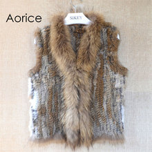 VR033 New knitted Rabbit fur with raccoon fur color  vest gilet sleeveless garment waistcoat natural brown /grey/black