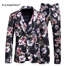 TIAN QIONG Burgundy Men Suit Printed Floral Patterns Designer Suit Stage Wear Slim Fit Prom Suit S-5XL 3 Pce (Blazer+Pants+Vest)(China)