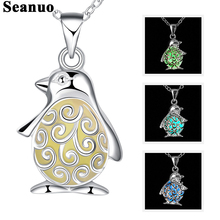 Seanuo Cute bird Night glow necklace jewelry women fashion lovely hollow Luminous Fluorescence choker necklace for men Baby gift