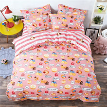 Cartoon Stripe food 3/4pcs bedding sets bed set bedclothes for kids bed linen Duvet Cover Bed sheet Pillowcase twin full queen