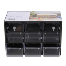 Plastic 9 Jewelry Storage Box Mini Debris Cabinets Lattice Portable Amall Drawer Sorting Grid Desktop Office Supplies Organizad