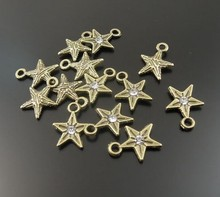Wholesale Charms Pendants Metal Alloys 200pc Antique Bronze Small Five-Pointed Star Charm Pendant Jewelry Accessories 8X8mm E312