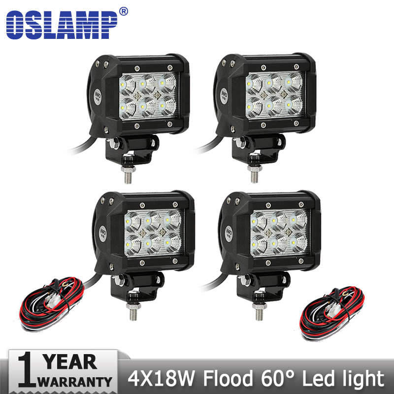 Oslamp 4 18W CREE Chips LED Work Light Bar Flood Spot Beam 12V/24V Truck ATV SUV Truck 4X4 Offroad Led Driving Light Fog Lamp<br><br>Aliexpress