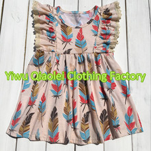 Thanksgiving GIRL dress feather high quality boutique high quality kids girl dress(China)