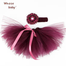 Baby Girl Skirts Newborn Tutu Tulle Skirts+Headwear Flower Baby Sets Christening Kid Clothes Photograph 1 Year Birthday Skirt(China)
