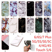 Fashion Marble Phone Cases For iphone 4 4S 5 5C SE 6 6S 7 Plus Case For ipod Touch 5/6 Coque Soft Silicone Back Cover i5 Fundas(China)