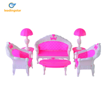 LeadingStar 2017 6PCS SET Barbie Size Dollhouse Living Room Grand Parlour Sofa Set Best New Year Gifts for Children Gifts zk45