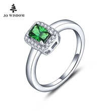 JO WISDOM Fine Jewelry Birthstone Emerald Rings Gift Womens White Gold Plated Wedding Ring aaa Cubic CZ Jewelry Wholesale 2017(China)