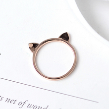 YUN RUO Yellow Rose Gold Color Cat Ears Finger Ring for Woman Girl Birthday Gift Wedding Jewelry 316L Stainless Steel Never Fade(China)