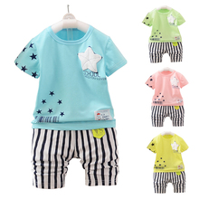 2017 Summer Children's Suit Baby Boy Clothes Set Cartoon Star Pattern Infant Sets For Newborn Baby Boy Girl Clothing Kids Suits