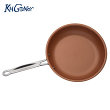KHGDNOR 24cm 26cm Nonstick Pan Ceramic Coating Copper Frying Pan Induction Cooker Smokeless Skillet Pan Cooking Stencil