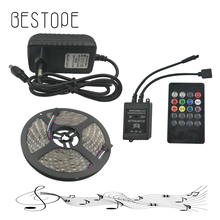 RGB LED Strip Waterproof IP65 5m/lot 30LEDs/m SMD 5050 3A 12V Power Supply music IR Remote Controller Christmas RGB Strip Light(China)
