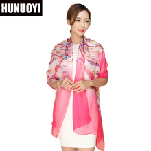 High quality 100% mulberry natural silk scarf shawl hijab wrap women female long style spring summer Beach Cover-ups SJ28(China)