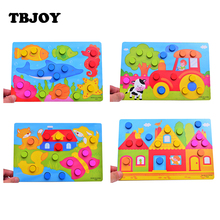 4 Style Wooden Jigsaw Board Educational Early Learning Cartoon Wood Puzzles Fun Kids Toys for Children Gifts