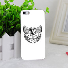 A0682 Ornamental Head Cat Trendy Ethnic Transparent Hard Thin Case Cover For Apple iPhone 4 4S 5 5S SE 5C 6 6S 6Plus 6s Plus