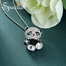 Special Fashion Panda Maxi Necklace Lovely AAA Zirconia Necklaces & Pendants Cute Animal Jewelry Gifts for Women S1748N(China)