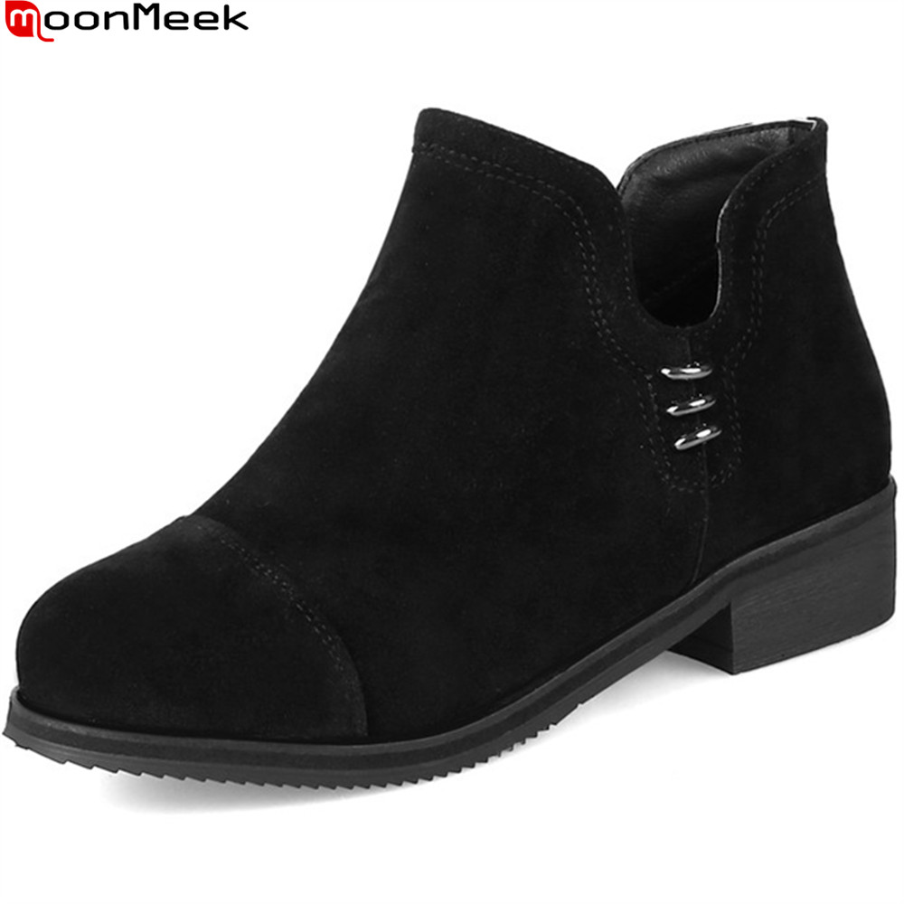 MoonMeek 2018 autumn winter women boots black green flock ladies boot round toe zipper square heel ankle boots plus size 32-47<br>