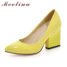 Meotina High Heels Shoes Women White Wedding Shoes Thick High Heels Fashion Party Pumps Footwear Yellow Red Big Size 9 10 41 43(China)