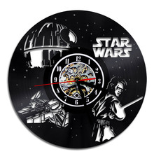 Free Shipping 1Piece Vinyl Art Wall Clock Star Wars Characters Retro CD Vinyl Record Handing Wall Clock Saat Vintage Home Decor