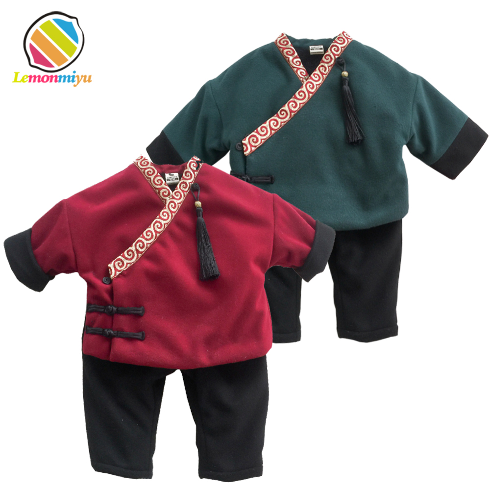 Lemonmiyu Chinese Style Kids Cotton Sets Casual V-Neck Single Button Baby Vintage Suits Children Chinese Knot Spring Outfits<br>