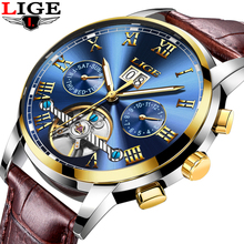 New LIGE Luxury Brand Men's Watches Fashion Business Automatic Watch Men 3ATM Waterproof Leather Wristwatches relogio masculino(China)
