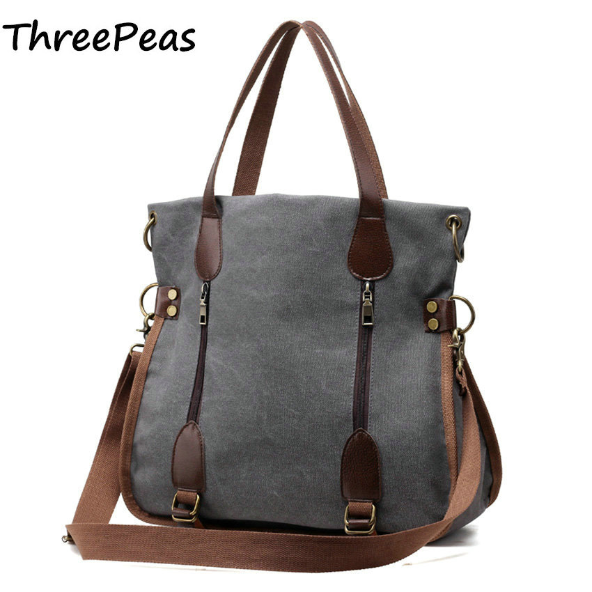 THREEPEAS Fashion Big Women Canvas Bag Ladies Shoulder Bags Handbags Women Famous Brands Large Captain Casual Tote Bags Sac<br>