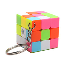 Treeby 3*3*3 PVC Mini Rainbow Puzzle Cube for Learning&Educational Child Toys Speed Rubik's Cube Magico Key Chain Accessories