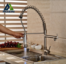 LED Light Two Spout Spring Pull Down Kitchen Sink Faucet Hot Cold Water Mixer Taps Brushed Nickel Finish
