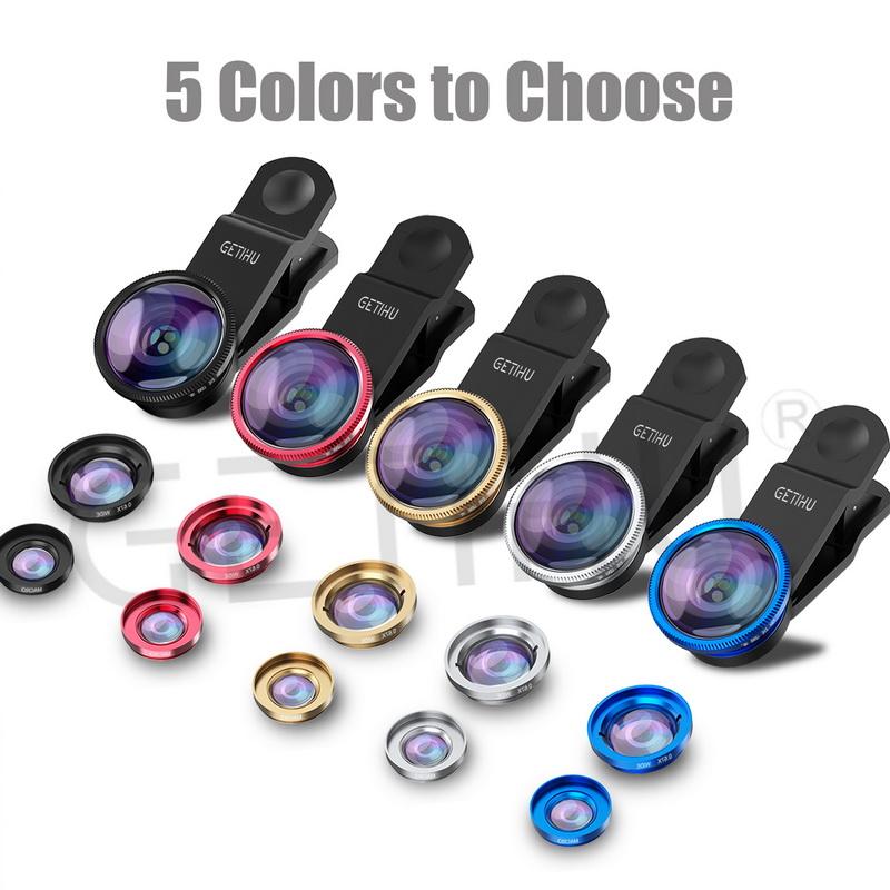 Universal Fisheye Lens 3 in 1 Mobile Phone Clip Lenses Fish Eye Wide Angle Macro Camera Lens for Smartphone iPhone 6 Microscope 5