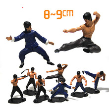 7 pcs/ set Bruce Lee Action Figure Bandai Tamashii Nations  mini Bruce Lee toys Figma  Kung Fu Pos collections gift