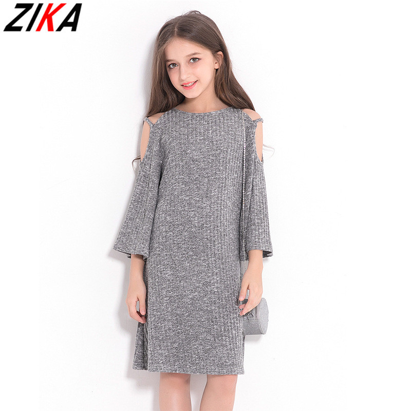 ZIKA Big Girls Strapless Dresses Imitation Sweater Polyester Solid Kids Costume Teens Girls Vestidos Grey Children Dress 6-15T<br>