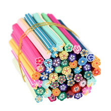 50Pcs/Set Nail Art Fruit Flower Butterfly Heart Feather Animal Fimo Canes Rods Polymer Clay Nail Art Stikers Manicure Tools(China)