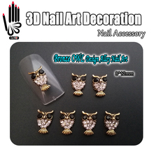 Nail Art Decoration 10pcs/Lot 3D Bronze OWL Design Black+Clear Rhinestone Alloy Nail Art Decorations for Nail Jewelry(China)