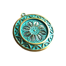 5pcs Antique Bronze Open Flower Round Shield Big Charm pendants Bronze Jewelry Materials Charms For Jewelry Making Findings(China)