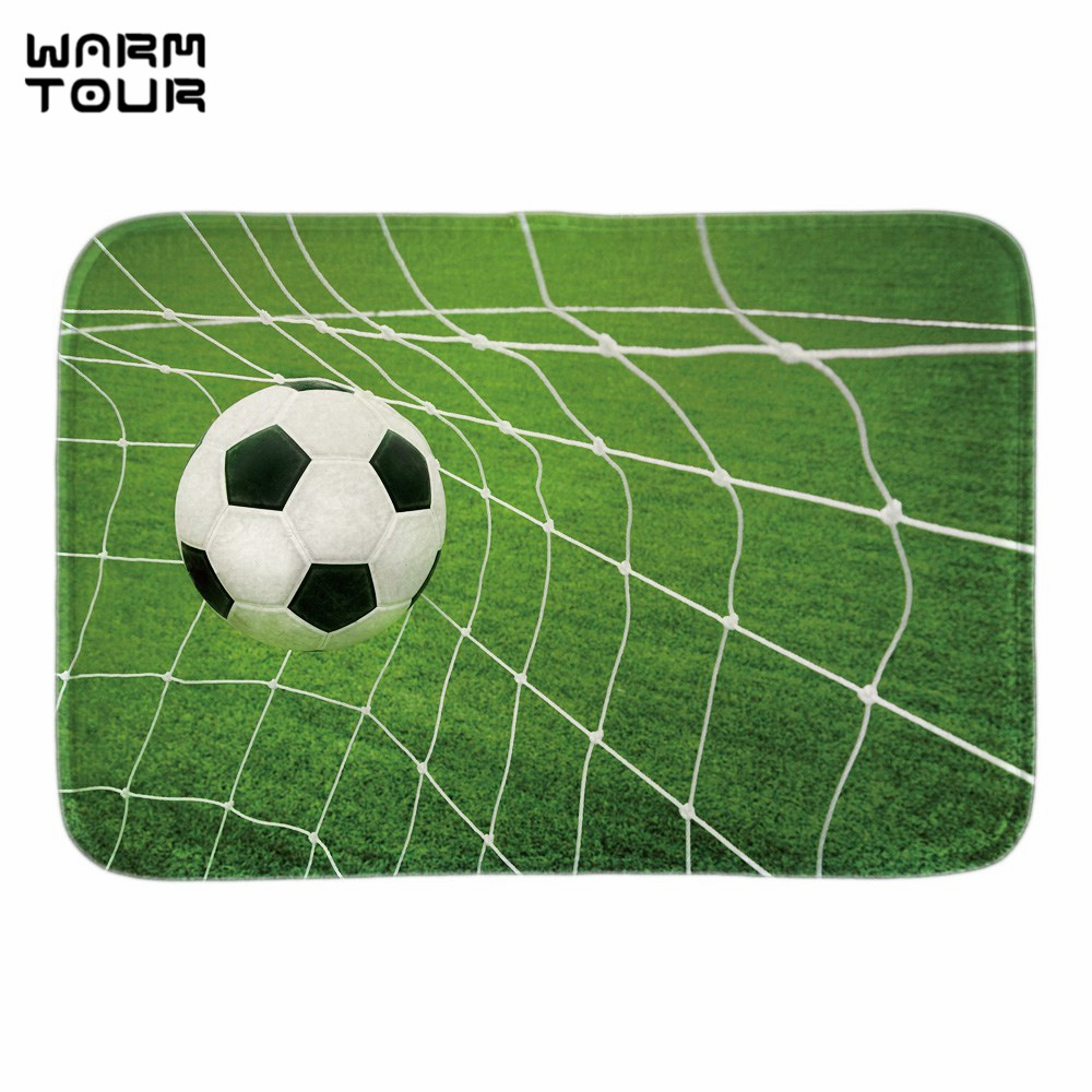 WARM TOUR Soccer Goal Doormat Sport Ball Indoor Outdoor Front Door Floor Mat Home Decorative Fabric Livingroom Bathroom Mats