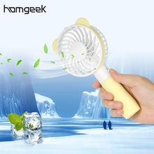 Homgeek Mini USB Rechargeable Fan Handheld 2 Speed Adjustable Bear Shaped Fan Air Conditioner for Home Office